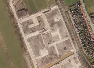 Luchtfoto van de wijk in aanbouw